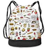DSGFSQ Sac de Sport,Sac à Cordon Funny Dance Gift Unisex Drawstring Fashion Beam Backpack Many Foods Print Backpack Travel Gym Tote Cosmetic Bag