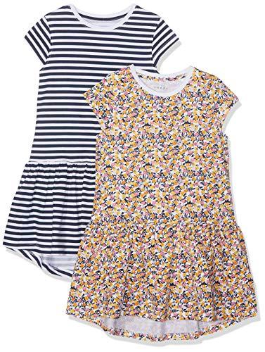 NAME IT Mädchen NKFVIGGA 2P CAPSL Dress F Kleid, Weiß (Bright White AOP: Small Flower), Herstellergröße: 146 -