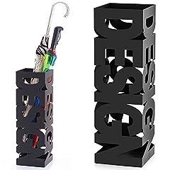Idea Regalo - BAKAJI Portaombrelli Stand in Ferro Design BAK9B Porta Ombrelli Forma Quadrata Colore Nero con Decorazione Intarsio Scritta Design Vaschetta Salvagoccia Dimensioni 49 x 15,5 cm