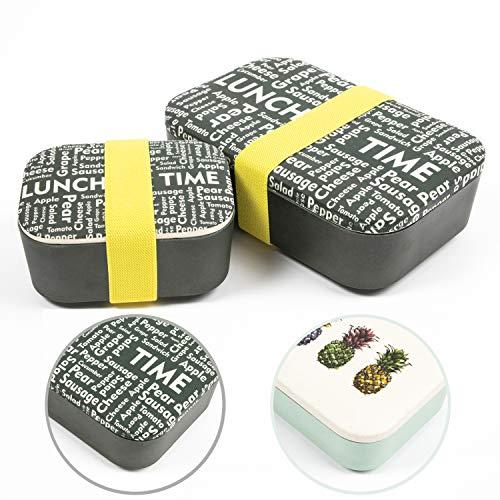 NATUMO® Premium Lunchbox Brotdose 2er Set Dicht Bpa Frei Bento Box Dosen Brotbox Essensbox Bambus Brotzeitbox Bambus Holz Frischhaltedose Mit Unterteilung Trennwand Groß Klein Kleine Fächern Jausenbox