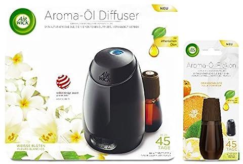 Air Wick Aroma-Öl Diffuser Starter-Set inkl. 1 Nachfüller Weisse Blüten + 1 Nachfüller Orangenblüte