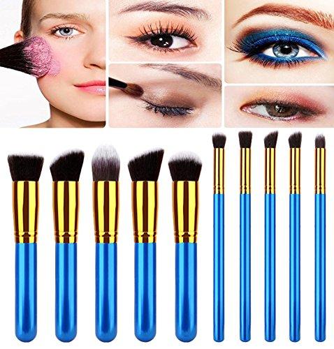 Demarkt Kit Pinceau Maquillage Brosse Professionnel 10PCS Eyebrow Shadow Makeup Blush Fond Teint AntiCerne (E)