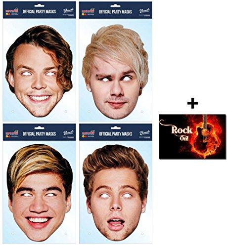 Film Kostüme Australia (5 Seconds of Summer Variety Karte Partei Gesichtsmasken (Maske) Packung von 4 (Enthält Calum, Luke, Michael und Ashton) Enthält 6X4 (15X10Cm))