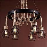 5151BuyWorld Lampe Pendelleuchten Vintage Seil Lampe Moderne Edison Lampe Leuchten Beleuchtung LED Industrielle Eisen Rohr Antike Licht Spider Loft Lampen Top Qualität