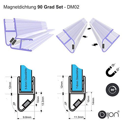 90 Grad SET (2 x 45 Grad) Magnetprofil Duschtürdichtung | Weiße Magneten | Für 5-6mm Glastärke