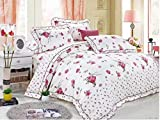 Gifty Cotton Double Luxurious Comforter and Queen Size Bedsheets with 2 Frill Pillow Covers Set (Purple)