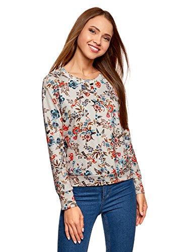 oodji Ultra Damen Bedrucktes Sweatshirt mit Rundem Ausschnitt, Beige, DE 36 / EU 38 / S (Floral Jeans Elasthan)