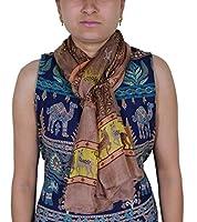 Las mujeres indias larga de seda pura bufanda marrón - animales forman la bufanda de impresión