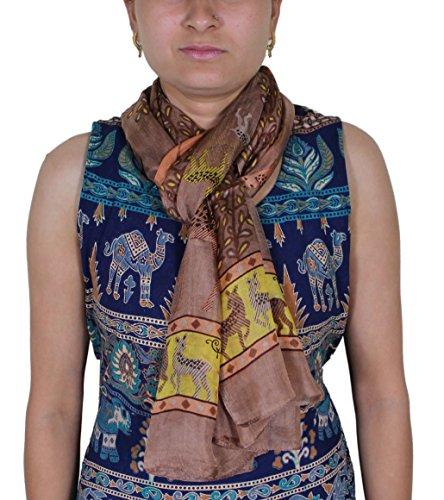 Indian donne in pura seta lunga sciarpa marrone - stampa moda sciarpa animale - 188 x 56 cm