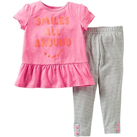 Carters Baby Girl Smiles All Around Legging Set Pink 9 Mo by Carter's