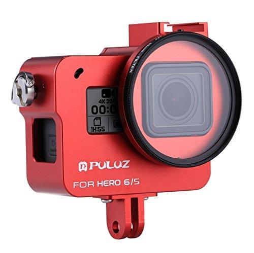 Wokee Ersatz Wasserdicht Schutz PULUZ Für GoPro Hero 6/5 CNC Aluminiumlegierung Gehäuse Shell Fall Schutzkäfig Hülle Gehäuse Touch Gehäuse Schutz für Ihre (Rot) (Drohne Hubschrauber Für Go Pro)