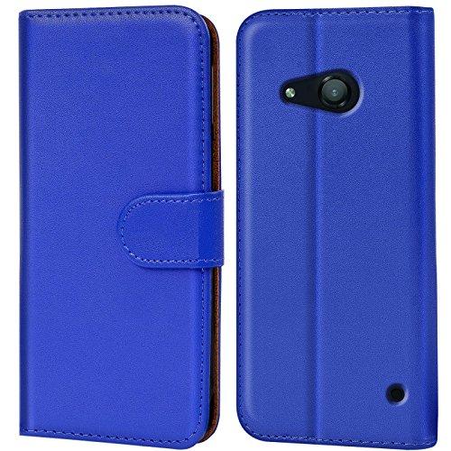 Verco Lumia 550 Hülle, Handyhülle für Microsoft Lumia 550 Tasche PU Leder Flip Case Brieftasche - Blau