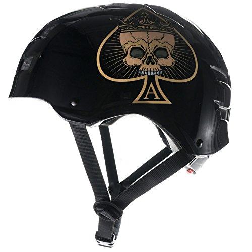 Skullcap® BMX Helm ☢ Skaterhelm ☢ Fahrradhelm ☢, Herren   Damen   Jungs & Kinderhelm, schwarz matt & glänzend (Ace of Spades, S (51 - 54 cm))