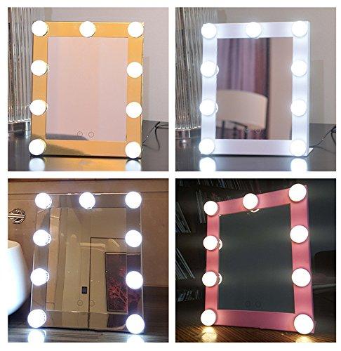 Schminkspiegel TOUCH Bildschirm mit 9Big-LED-Leuchtmittel Beleuchtete Spiegel Adjustbale Helligkeit - weiß - 5