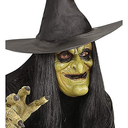 Widmann - Maske Hexe mit Haar für Kinder (Für Erwachsene Bösen Zauberin Kostüm)