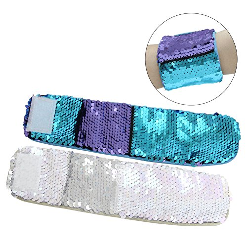 ICOSY 2 STÜCKE Meerjungfrau Armbänder Magie Reversible Pailletten Armbänder Slap Armbänder Bling Handbänder Glitter Armreifen für Kinder Erwachsene (Pailletten Unter $10)