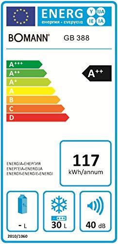 Bomann GB 388 - Congelador (Vertical, Independiente, Color blanco, 30L, 32L, 3 kg/24h)
