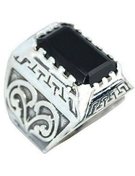 Herren Solides Sterling 925er Silber Schwarzer Onyx Herren Ring, Smaragdschliff Edelstein Signet Ringe! Größen...