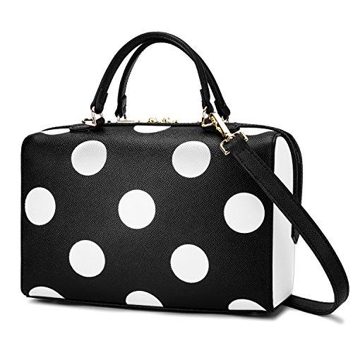 Handtasche Damen Tote Bag Top Griff Tasche Damen Geldbörse M-Größe aus echtem Leder Handtasche Geldbörse Polka Dots Satchel Schultertasche ()