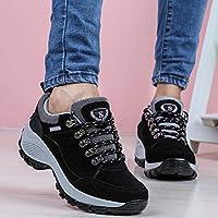 Casual Zapatos Cómodos De Invierno con Suela Gruesa, Zapatillas De Deporte Aumentadas, Zapatillas De Deporte Al Aire Libre, Zapatos con Cordones,Negro,36