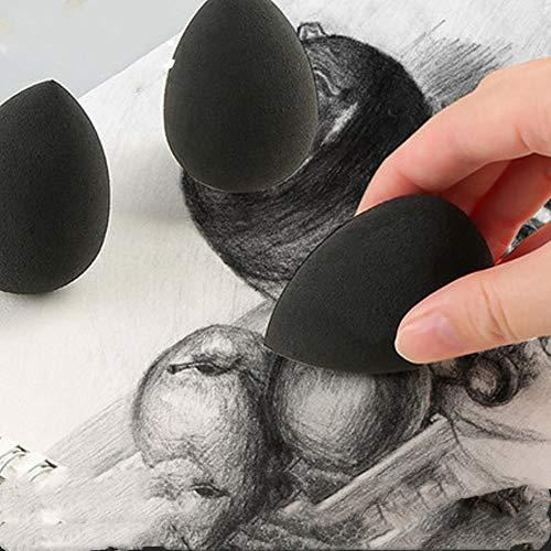 3 Stücke Künstler Schwamm Wischwerkzeug Malschwamm Pinsel Malen Schwamm Bürsten zum Malen Töpfern Abstrich Kunst und Handwerk Arbeit Tropfenform Malschwämme Aquarell Schwämme,Schwarz