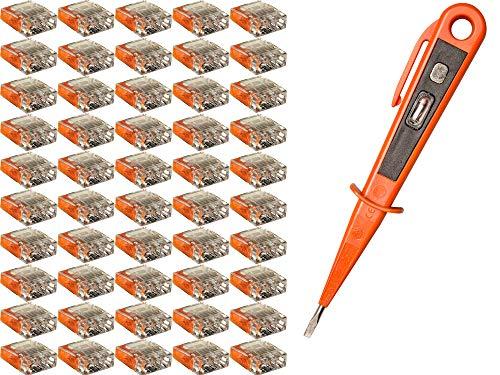 H+H Werkzeug SKK50 50 Set 3-polig + 1 x Spannungsprüfer/Phasenprüfer 45300 VDE (Verbindungsklemme Steckklemme Steckverbinder Verbindungsdosenklemme), orange, 0,5-2,5mm²