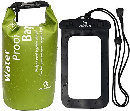 Freegrace Premium Lightweight Dry Sack/Dry Bags & Phone Case (Set Of 2) - Keeps Gear Dry for Kayaking, Beach, Rafting, Boating, Hiking, Camping and Fishing (Small Green, 2L) (Green Bag Beach)