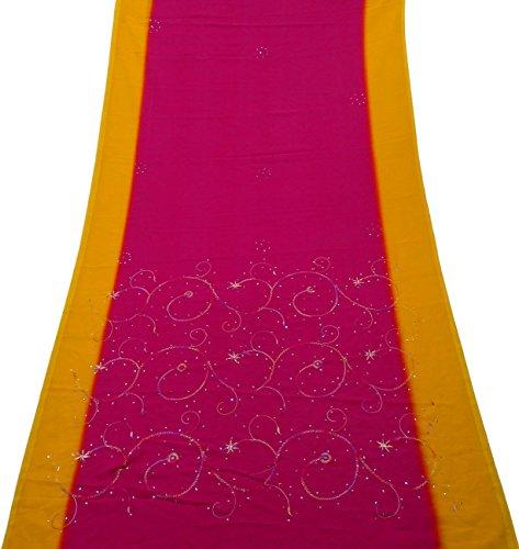 Frauen-Mode Saree Kleid Georgette Mischungmaterial Hand Bestickt Sarong Vorhang Drapierung Rosa Kunst Dekor DIY Handwerk Verwendet Stoff Jahrgang Indischen Ethnischen Sari (Bestickte Hand Georgette)
