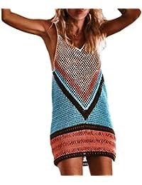 Sexy bikini sólido delantal, Longra ❤ Las mujeres atractivas sin mangas Crochet Beach Cover