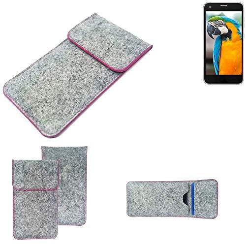K-S-Trade® Filz Schutz Hülle Für -Vestel V3 5040- Schutzhülle Filztasche Pouch Tasche Case Sleeve Handyhülle Filzhülle Hellgrau Pinker Rand