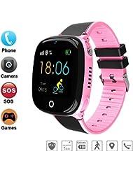 Begabtes Kind 2019 GPS-Telefon Uhr OHNE Abhörfunktion für Kinder Intelligent IP67 Wasserdicht SOS Notruf+Telefonfunktion, Live GPS+LBS Positionierung,Puzzle-Spiel, App + Support auf deutsch