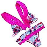 Xinan Bikini Set Damen Badeanzug Bademode Push up Print Bow Swimsuit Bain Femme Beachwear