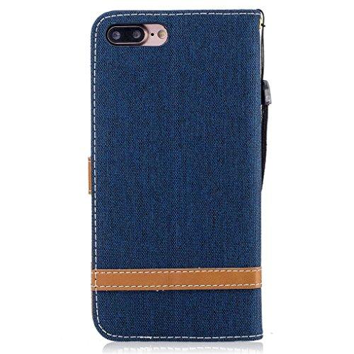 König-Shop Handy Hülle Schutz Case Jeans Optik Bookstyle Tasche Etuis, Für Handy:Apple iPhone 7 Plus (5.5 Zoll), Farbe wählen:Navy Blau Navy Blau