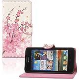 tinxi® PU Ledertasche im Bookstyle für Huawei Ascend G510 Tasche Leder Schutzhülle Flipcase Case Cover mit Magnet Verschluss Pflaumenblüte