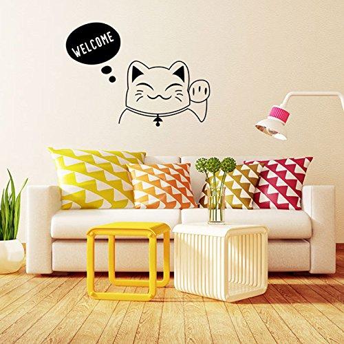 Winhappyhome Lucky Cat Welcome attirati adesivi da parete per soggiorno e camera da letto divano TV sfondo Home Decor adesivo rimovibile murale decalcomanie