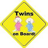 Twins On Board Boy & Girl Bunny Cute Funny Baby Hochwertigen Auto-Autoaufkleber 12 x 12 cm