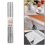 #2: Trexee Multipurpose Easy To Cut Cupboard Shelf Drawer Fridge mat Aluminum Silver Sheet Roll - Size: 45 X 200 Cm