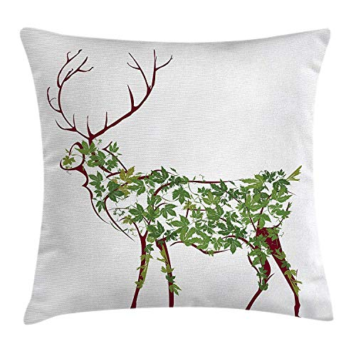 RAINNY Antlers Throw Pillow Cushion Cover, Designer Deer Print Leave Greenery Garden Traditional Celebration Print, Decorative Square Accent Pillow Case, 18 X18 Inches, Brown and Forest Green Designer Print-cover