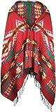styleBREAKER Poncho im Azteken, Ethno Design mit Kapuze und Knebelknopf Verschluss, Umhang Cape, Damen 08010006, Farbe:Rot