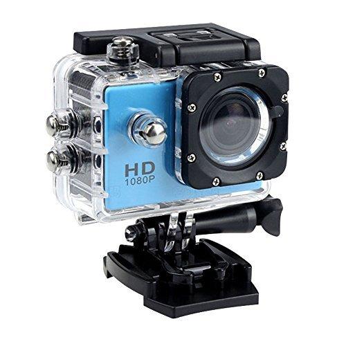MAOZUA 1080P Action Kamera 12MP Sportkamera Wasserdicht Action-Kamera Unterstutzen Audio HDMI, USB, AV-Ausgang, Auto-Modus (blau, kein WiFi)