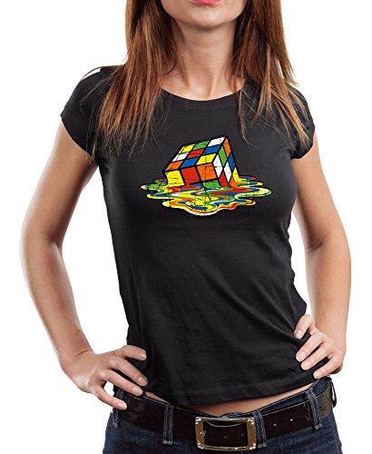 1508-Camiseta Mujer Magic Cube (Negra, S.)