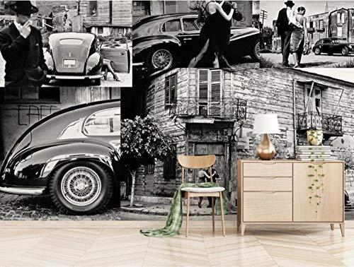 SKTYEE Europäischen stil retro schwarz-weiß landschaft auto liebhaber stadt straße szene hintergrund wand 3d dekoration tapetenwandbilder @ 300x210_cm_ (118.1_by_82.7_in) _