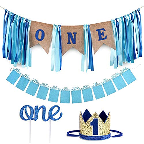 Amycute 1. Geburtstag Dekorationen für Jungen, Baby First Birthday Blue Chair Banner ,1st Birthday Banners ,Partyhüte, Geschenk Dekoration zum Erstes Jahr Geburtstag Babyparty.