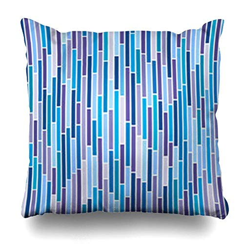 Klotr Kissenbezugs Fun Blue Pattern Abstract Stripes Cool in Colours is Colourful Line Stripy Bright Cheerful Stripe Pillowcase Square Size 18 x 18 Inches Home Decor Cushion Cases