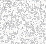 Klebefolie - Möbelfolie - Ranken Ornamente silber grau - 45 x 200 cm - Dekorfolie selbstklebend mit Barock-Elementen