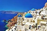 Jigsaw Puzzles 1000 Pieces Puzzles for Adults Dreamy Aegean Sea Greece Santorini Landscape Puzzle 30 x 20 inch