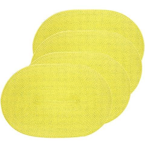 Eranda Oval gewebt Spiral Platzsets Set von 4(grün)