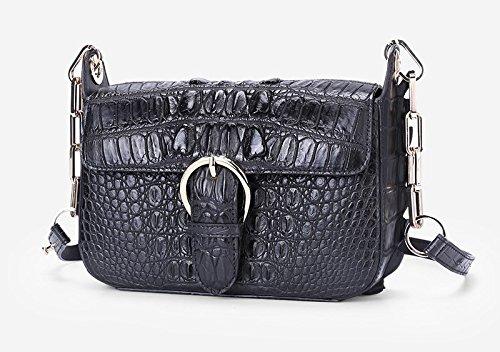 lpkone-Nouveau motif crocodile boucle magnétique sac bandoulière petit sac chaîne Black