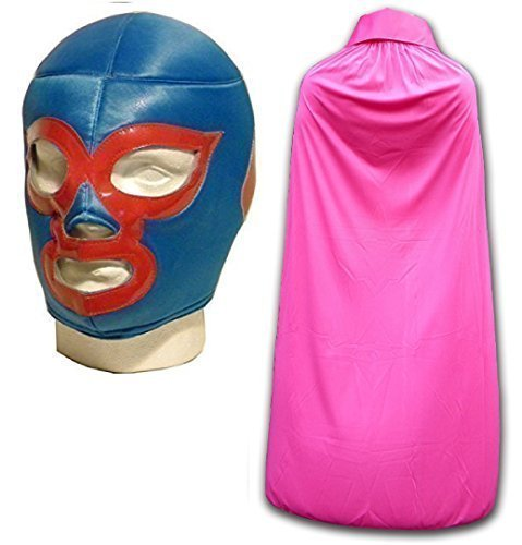 ne Luchador Ringer Maske mit rosa Umhang (Nacho Maske)
