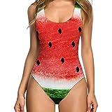 Amlaiworld Sommer blumen Früchte drucken bademode damen sport elegant Rose badeanzüge gepolstert Ananas Wassermelone Avocado Strandkleider (M, D)
